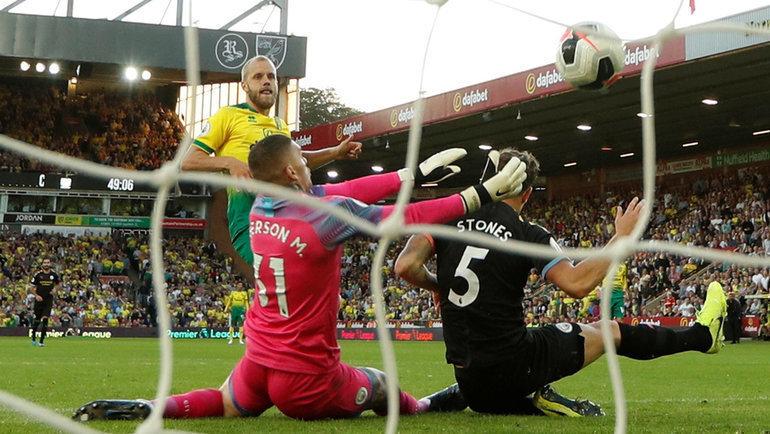 14сентября. Норвич. «Норвич»— «Манчестер Сити»— 3:2. Гол Теему Пукки. Фото Reuters