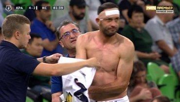 Гацкан доиграл матч с «Краснодаром» вфутболке без номера