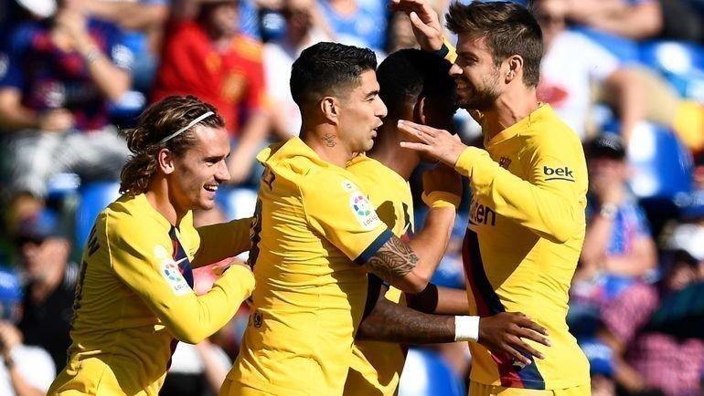 28сентября. Хетафе. «Хетафе»— «Барселона»— 0:2. Игроки «Барселоны» празднуют забитый гол. Фото AFP