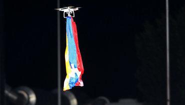 Матч «Дюделанж»— «Карабах» был прерван из-за дрона сфлагом Нагорного Карабаха