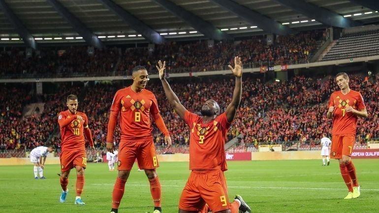 10октября. Брюссель. Бельгия— Сан-Марино— 9:0. Бельгийцы первыми оформили выход вфинальную часть Евро-2020. Фото AFP