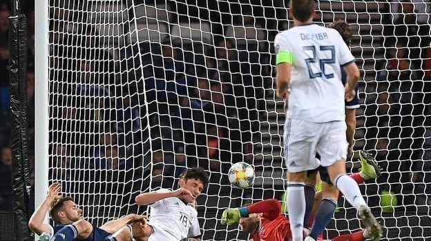 6сентября. Глазго. Шотландия— Россия— 1:2. Мяч Юрия Жиркова был назван автоголом шотландцев. Фото AFP