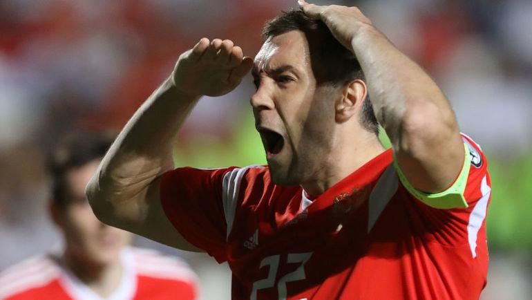 13октября. Никосия. Кипр— Россия— 0:5. Артем Дзюба после гола вворота киприотов. Фото Reuters