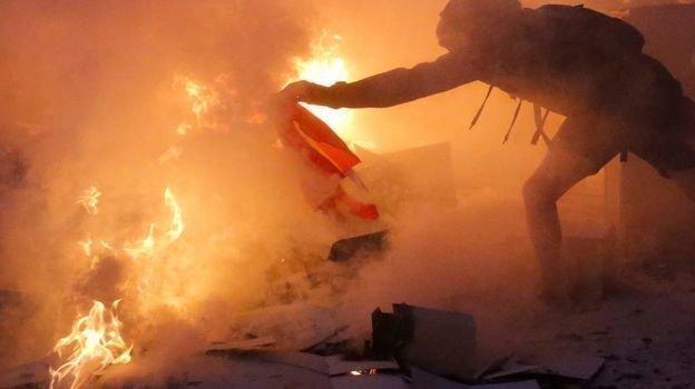 16октября. Барселона. Протесты истолкновения встолице Каталонии. Фото AFP