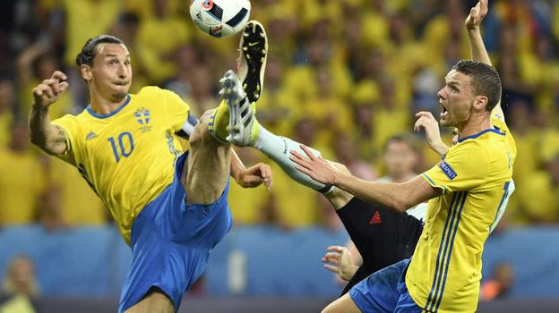 Златан Ибрагимович и Маркус Берг в составе сборной Швеции. Фото AFP