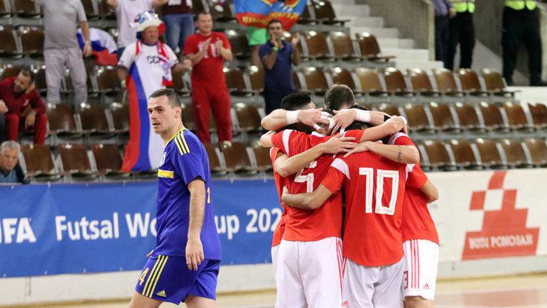 24октября. Дубровник. Россия— Босния— 4:2. Наши игроки празднуют важную победу. Фото АМФР