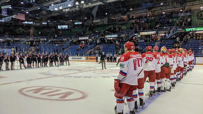 5ноября. Сент-Джон. Сборная QMJHL— Россия U20— 3:4. Перед матчем. Фото ФХР