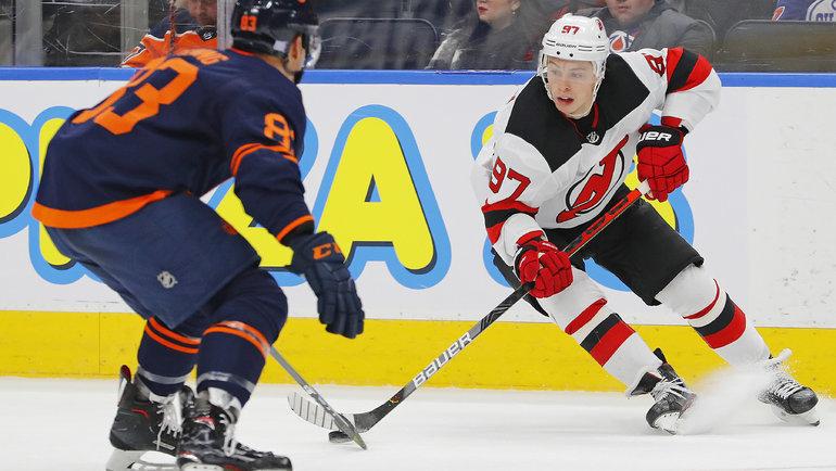 8ноября. Эдмонтон. «Эдмонтон»— «Нью-Джерси»— 4:0. Команда Никиты Гусева (№97) всухую проиграла «Нефтяникам». Фото Perry Nelson, USA Today Sports