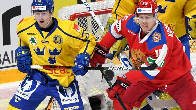 9ноября. Хельсинки. Швеция— Россия— 4:5Б. Эта победа стала для Алексея Кудашова первой всборной России. Фото Reuters