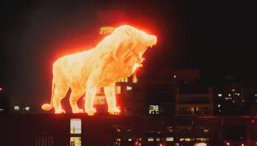 Аргентинский клуб отпраздновал возвращение настадион. Пополю гулял гигантский голографический лев