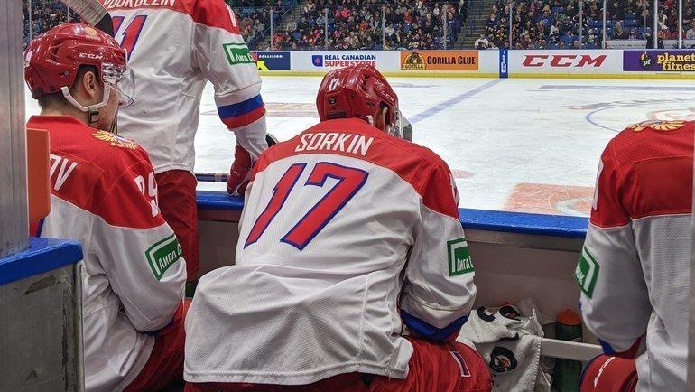 14ноября. Лондон. WHL— Россия U20— 2:1 ОТ. Скамейка сборной России. Фото ФХР