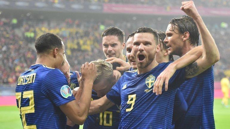 15ноября. Бухарест. Румыния— Швеция— 0:2. Шведы празднуют голы. Фото UEFA.com