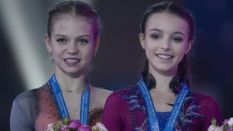 Александра Трусова (слева) иАнна Щербакова. Фото Ксения Нуртдинова