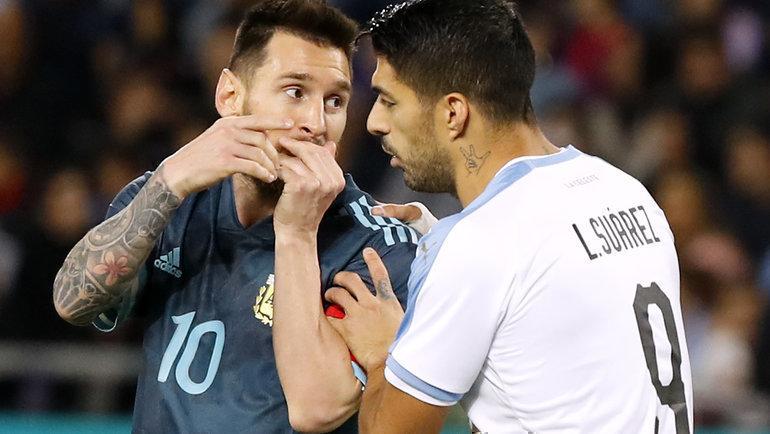 18ноября. Тель-Авив. Аргентина— Уругвай— 2:2. Лионель Месси иЛуис Суарес. Фото AFP