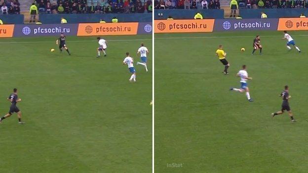 90+4 минута матча с «Сочи». Дзагоев теряет мяч в простой ситуации.