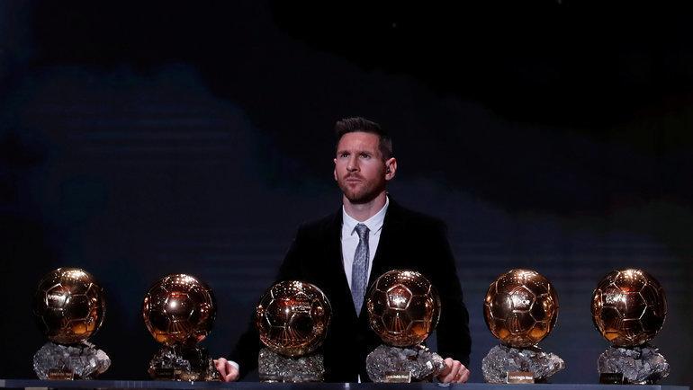 """2 декабря. Париж. Лионель Месси и шесть """"Золотых мячей"""". Фото Reuters"""