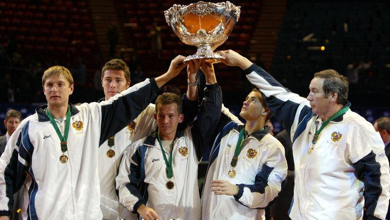 2декабря 2002 года сборная России впарижском «Берси» победила французов ивпервые взяла Кубок Дэвиса! Фото AFP