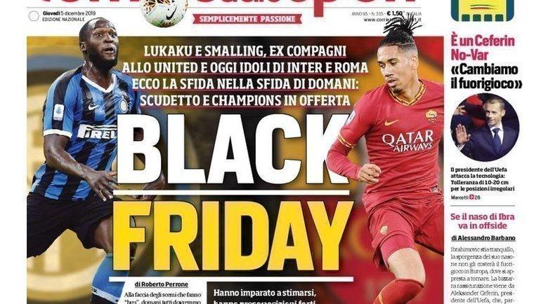 Обложка газеты Corriere dello Sport.