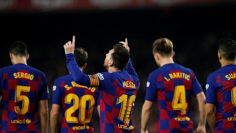 7декабря. Барселона. «Барселона»— «Мальорка»— 5:2. Лионель Месси (№10) празднует гол. Фото Reuters