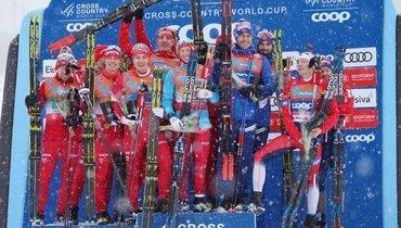 Сборная России двумя составами выиграла эстафетную гонку наэтапе вЛиллехаммере. Фото flgr.ru