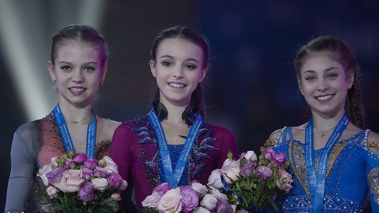 Подиум чемпионата России-2019 (слева направо): Александра Трусова, Анна Щербакова иАлена Косторная. Фото Ксения Нуртдинова