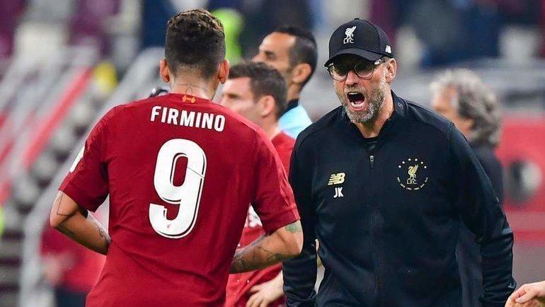 21декабря. Доха. «Ливерпуль»— «Фламенго»— 1:0. Роберту Фирмину иЮрген Клопп. Фото AFP
