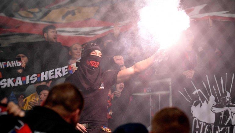 Фанаты ЦСКА наматче с «Ференцварошем» вБудапеште. Фото AFP