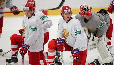 Тренировка молодежной сборной России перед матчем против Канады наМЧМ-2020.