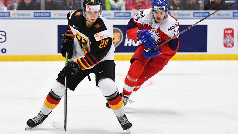 Сборная Германия победила Чехию наМЧМ. Фото iihf.com
