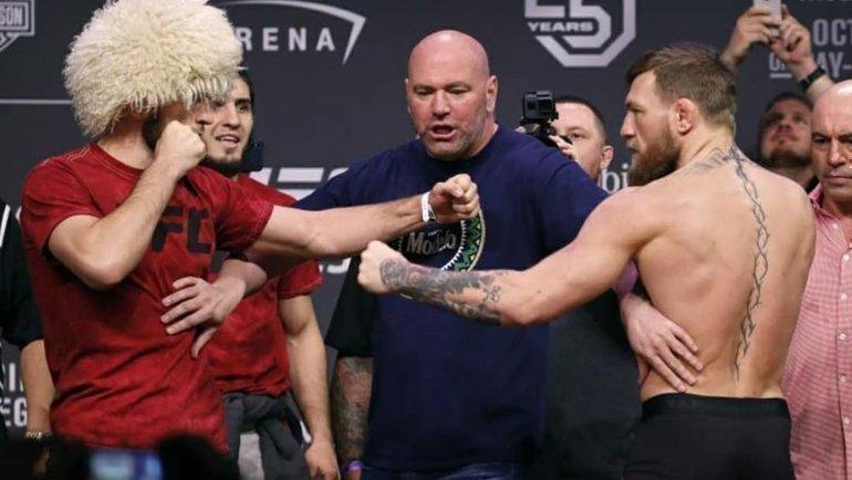 Хабиб Нурмагомедов иКонор Макгрегор лицом клицу. Фото UFC