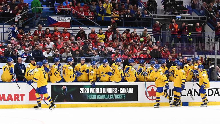 5января. Острава. Сборная Швеции победила Финляндию (3:2) вматче затретье место МЧМ-2020. Фото IIHF