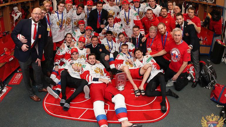 Раздевалка сборной России после поражения вфинале МЧМ. Фото ФХР