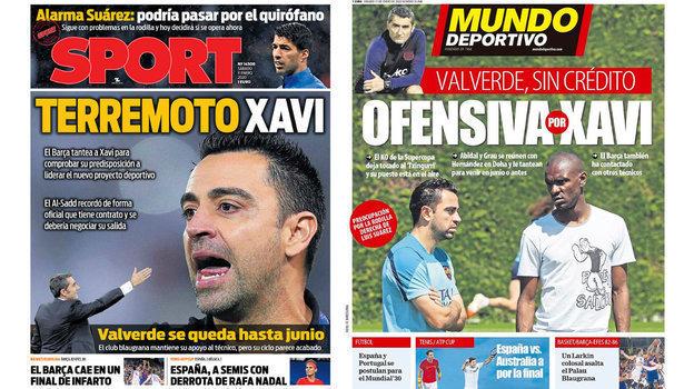 Тема тренера «Барселоны»— главная всубботних испанских газетах.