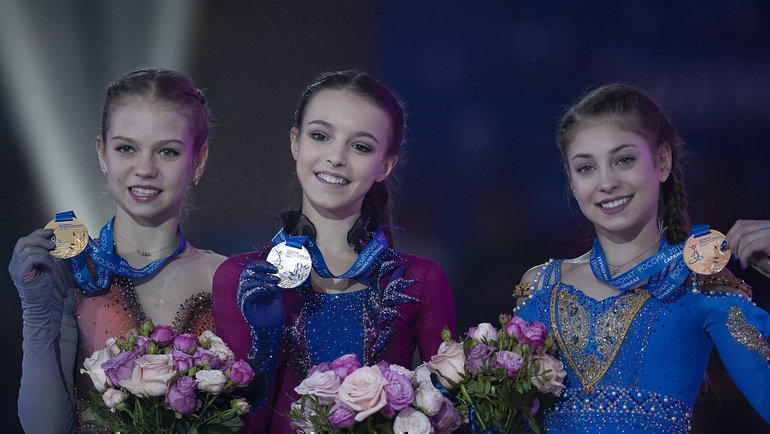 Александра Трусова, Анна Щербакова иАлена Косторная.