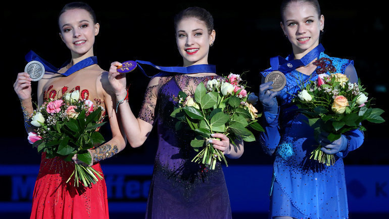 Слева направо: Анна Щербакова, Алена Косторная, Александра Трусова. Фото Reuters