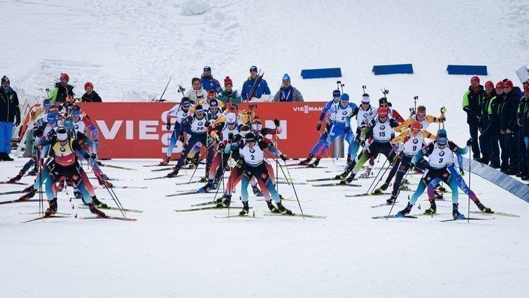 26января. Поклюка. Вмасс-стартах российские биатлонисты несмогли прервать безмедальную серию. Фото AFP