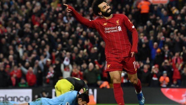 1февраля. Ливерпуль. «Ливерпуль»— «Саутгемптон»— 4:0. 90-я минута. Мохамед Салах празднует четвертый гол. Фото AFP