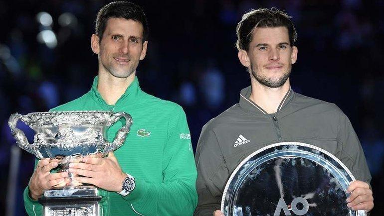 Новак Джокович (слева) иДоминик Тим. Фото AFP