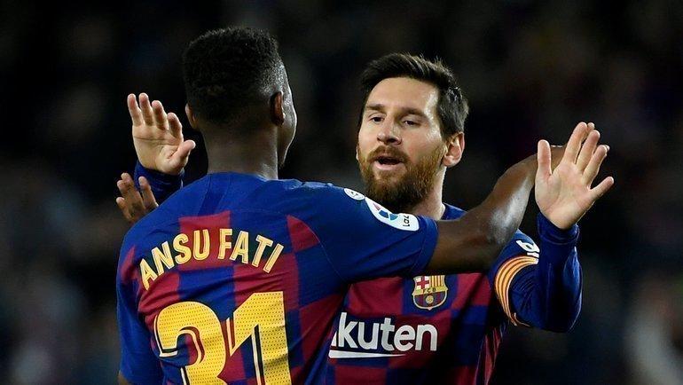 2февраля. Барселона. «Барселона»— «Левенте»— 2:0. 17-летний Ансу Фати сделал дубль за2 минуты после двух передач 32-летнего Лионеля Месси. Фото AFP