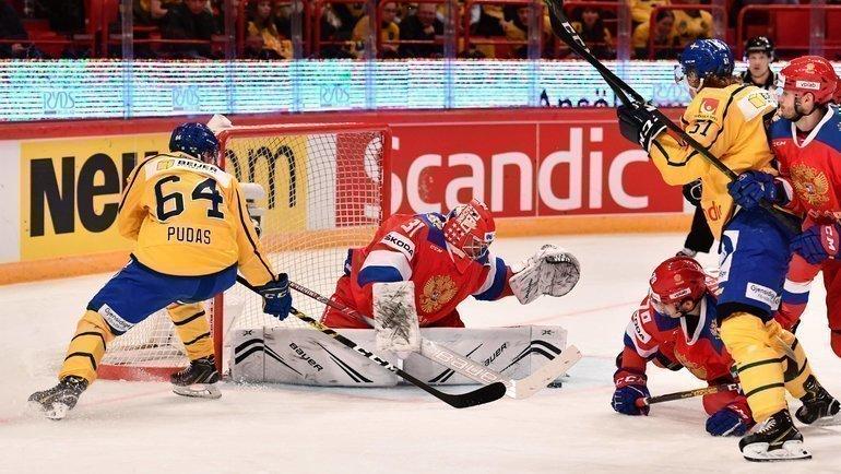 8февраля. Стокгольм. Швеция— Россия— 5:2. Россияне потерпели второе поражение врамках шведского этапа Евротура. Фото AFP