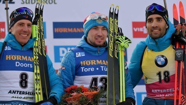 15февраля. Антерсельва. (слева направо) Кантен Фийон Майе, Александр Логинов, Мартен Фуркад. Фото AFP