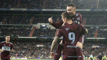 16февраля. Мадрид. «Реал»— «Сельта»— 2:2. Партнеры поздравляют Федора Смолова сголом.