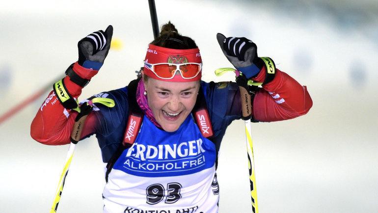 Екатерина Юрлова-Перхт празднует победу виндивидуальной гонке наЧМ-2015 вКонтиолахти. Фото Reuters