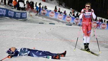 18февраля. Оре. Победитель спринта Йоханнес Клебо (справа) иФедерико Пеллегрино.