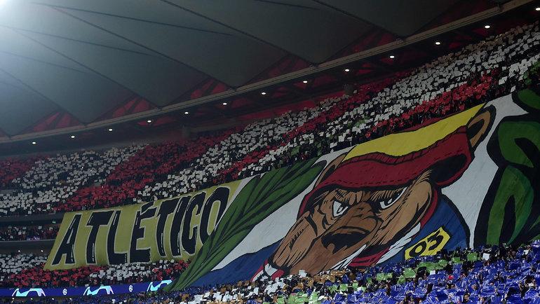 18февраля. Мадрид. «Атлетико»— «Ливерпуль»— 1:0. Перформанс болельщиков мадридского клуба.