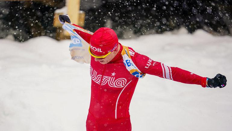 23февраля. Тронхейм. Александр Большунов порвал свой биб после финиша гонки. Фото AFP