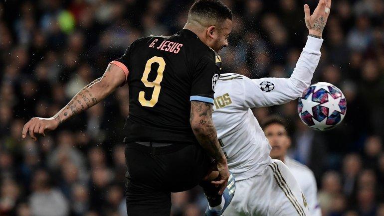 26февраля. Мадрид. «Реал»— «Манчестер Сити»— 1:2. 78-я минута. Нападающий гостей Габриэл Жезус сравнивает счет. Фото AFP