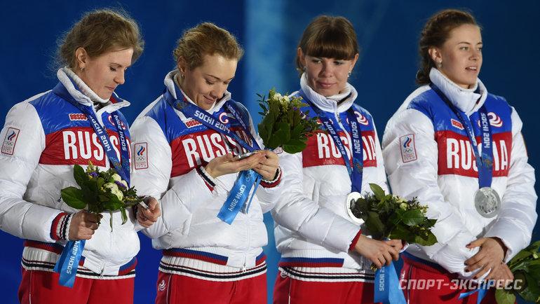 Женская сборная России по биатлону на Олимпиаде-2014. Фото Александр Федоров, «СЭ»