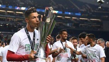 9июня 2019 года. Португалия— Голландия— 1:0. Криштиану Роналду празднует победу втурнире.