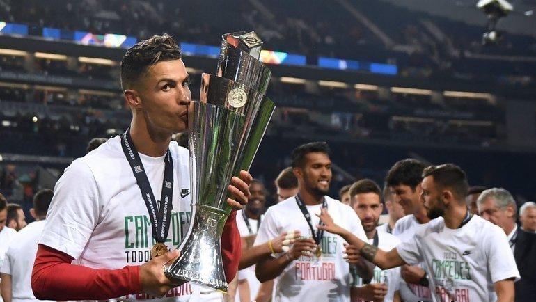 9июня 2019 года. Португалия— Голландия— 1:0. Криштиану Роналду празднует победу втурнире. Фото AFP